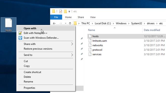 Οδηγίες για ρυθμίσεις host file σε Windows με notepad ++
